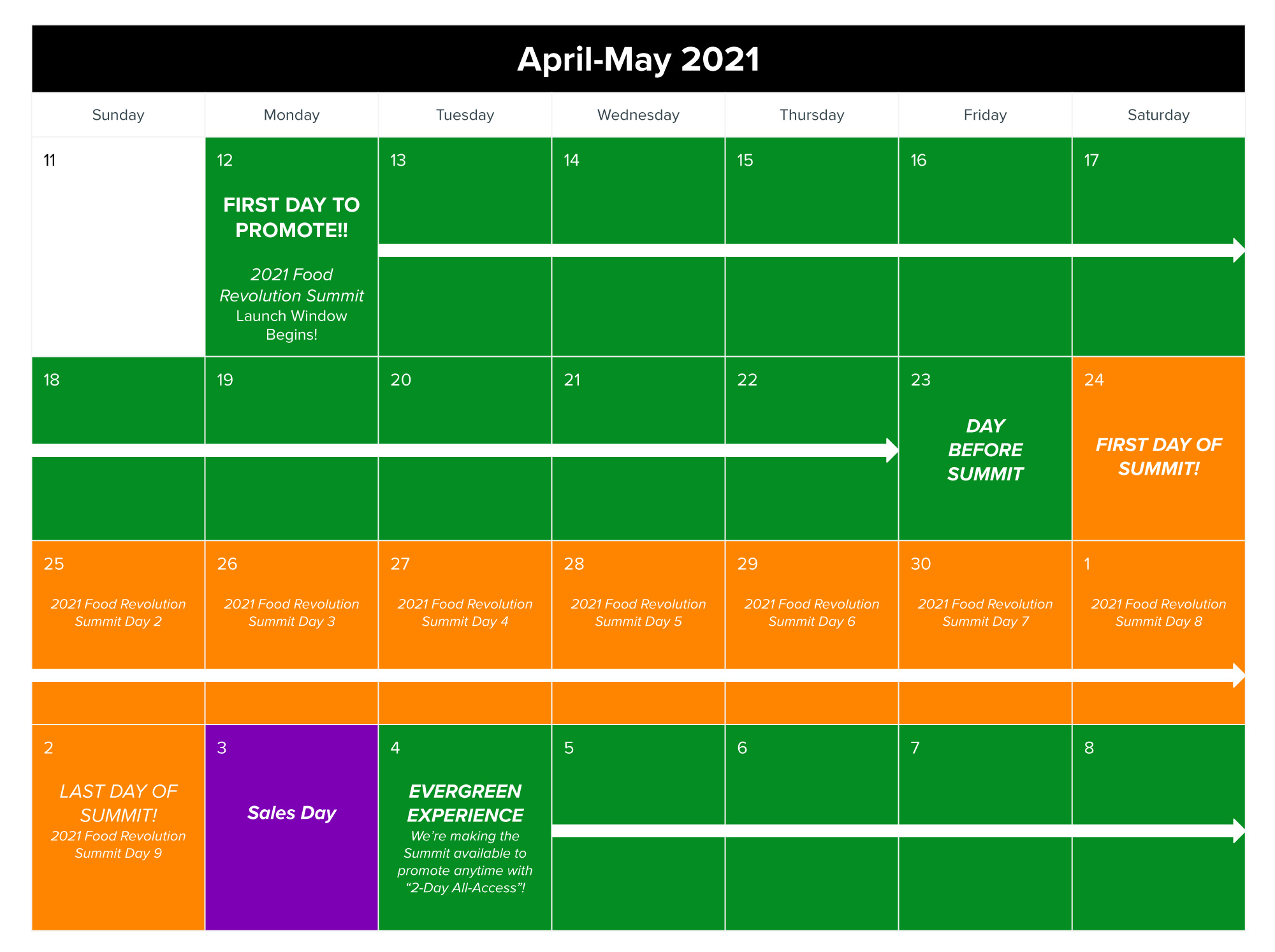 2021 Food Revolution Summit promo calendar
