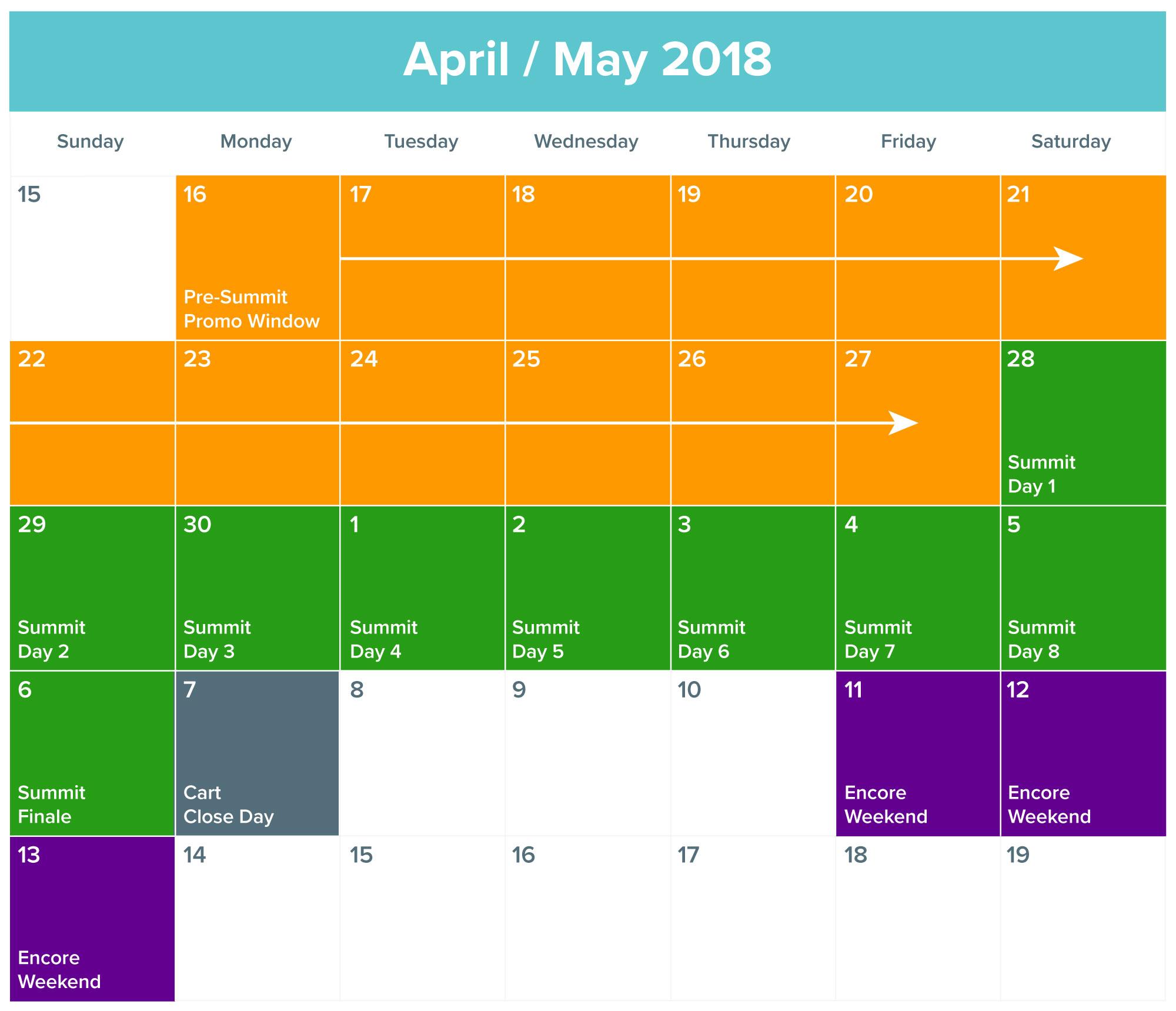 summit 2018 promo calendar