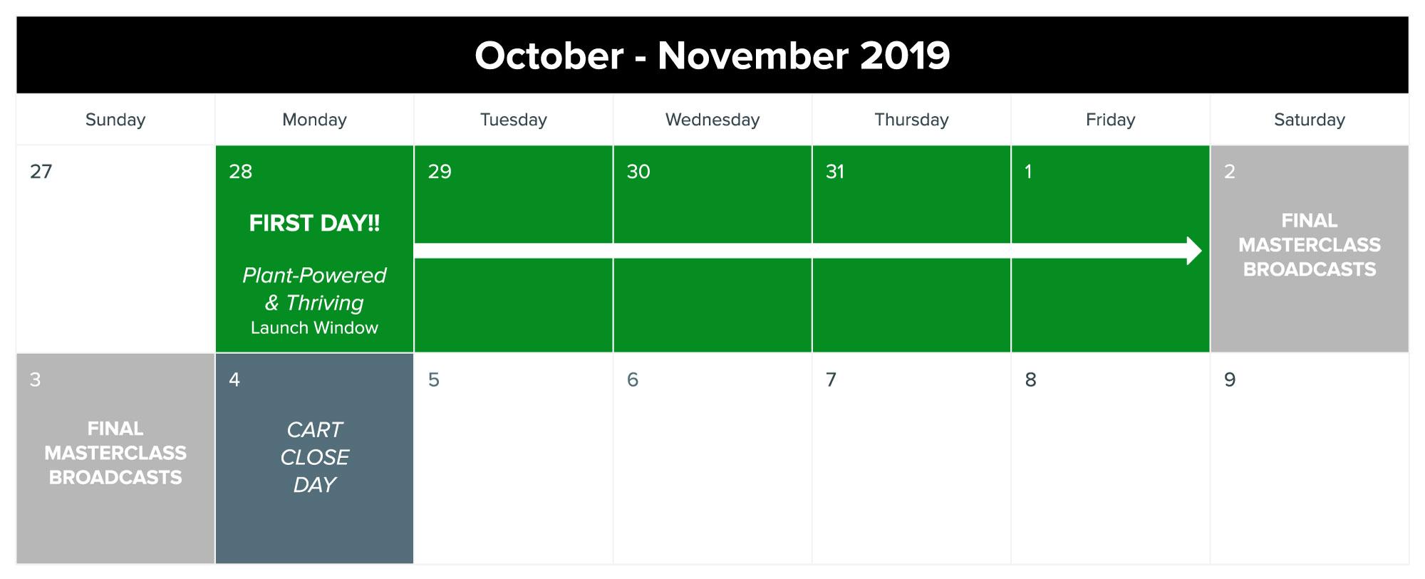 Plant-Powered & Thriving promo calendar